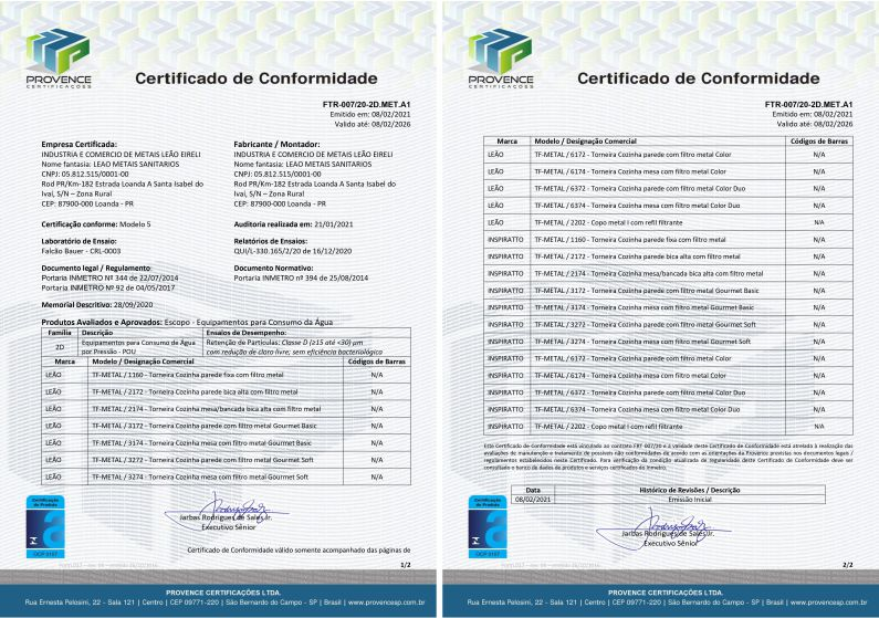 Certifications - Lion Sanitary Metals